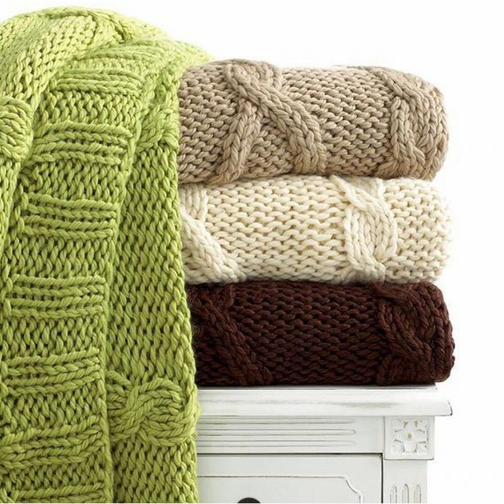 Martha Stewart Chunky Knit Throw 60 Quot X 50 Quot Taupe New Ebay