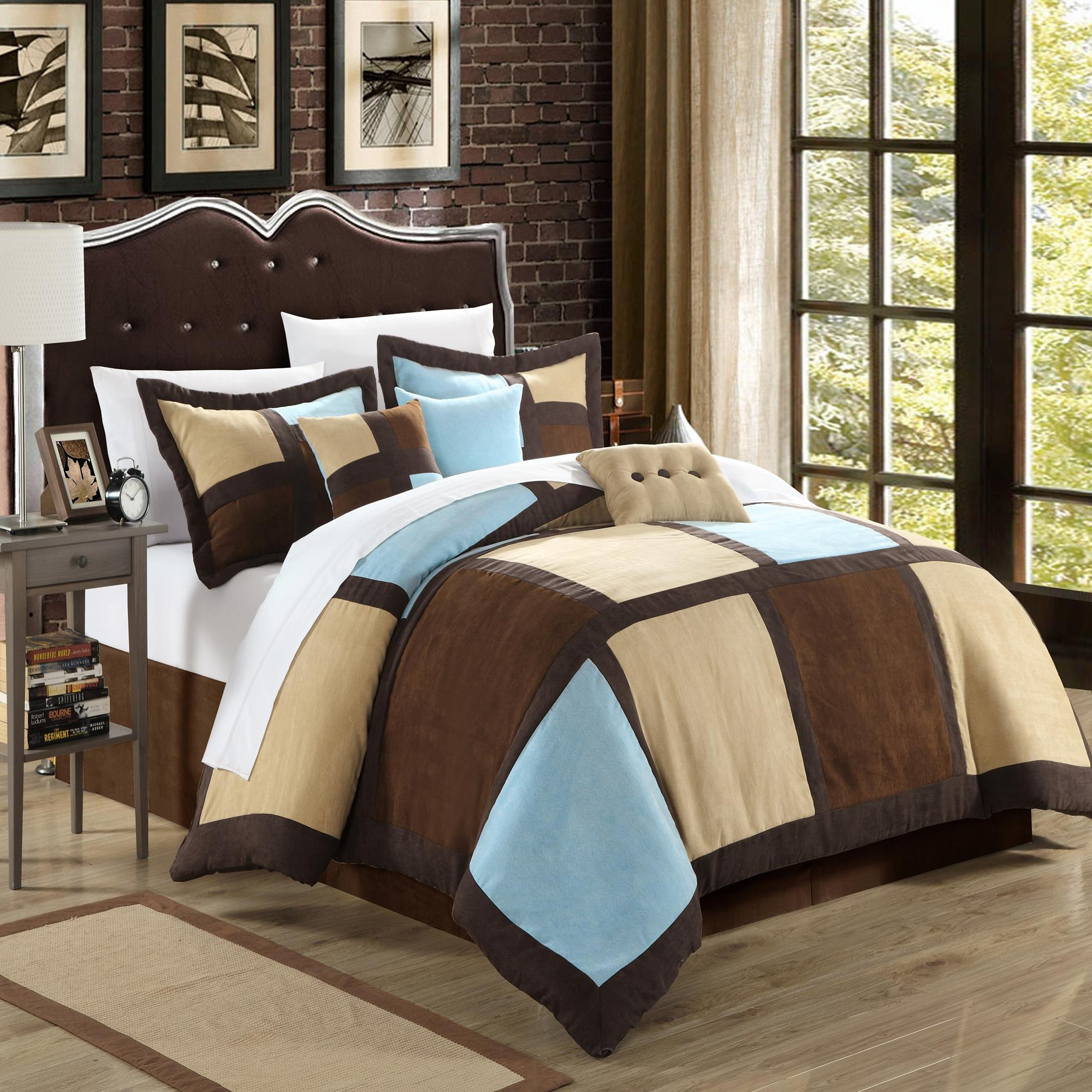 Chic Home Diana Microsuede Blue, Browns, Ivory 7 Piece Comforter Bed In A Bag Set