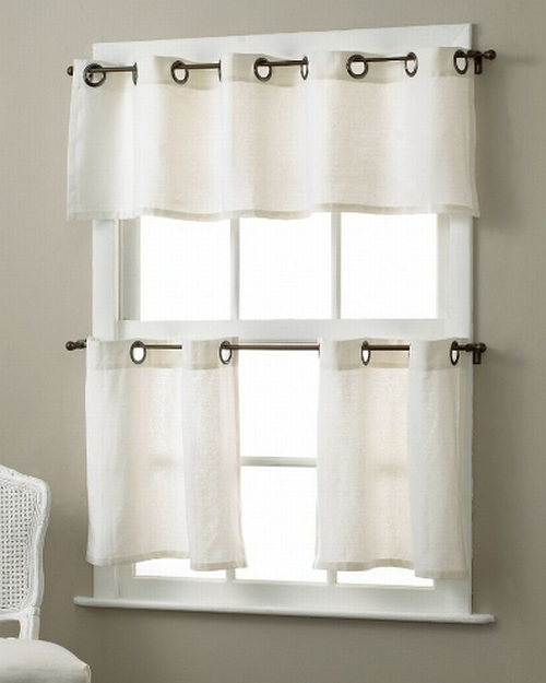 elrene home quot essex quot grommet kitchen valance white new