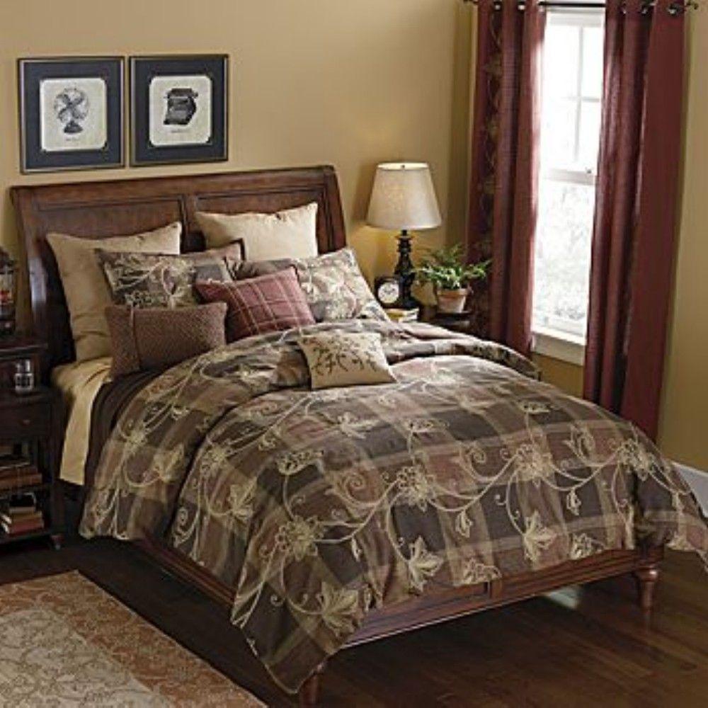 linden street floral plaid full 8pc bed in a bag new ebay. Black Bedroom Furniture Sets. Home Design Ideas