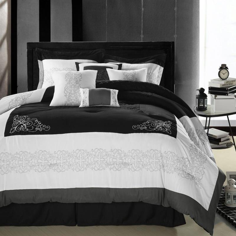 Florence Black Gray White 8 Piece Queen Comforter Bed