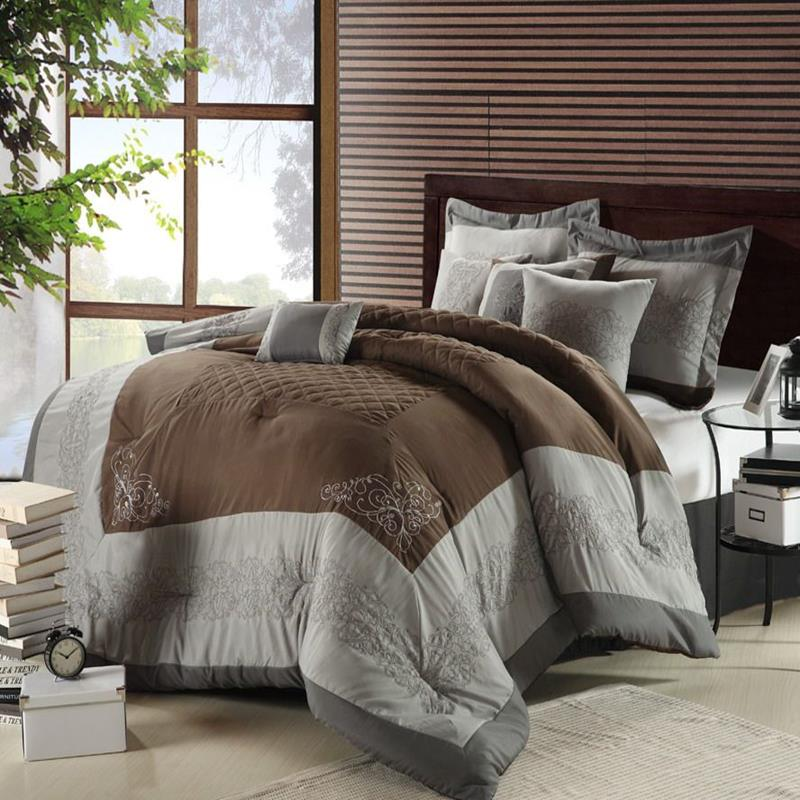 Florence Brown, Gray & Silver 8 Piece Queen Comforter Bed ...