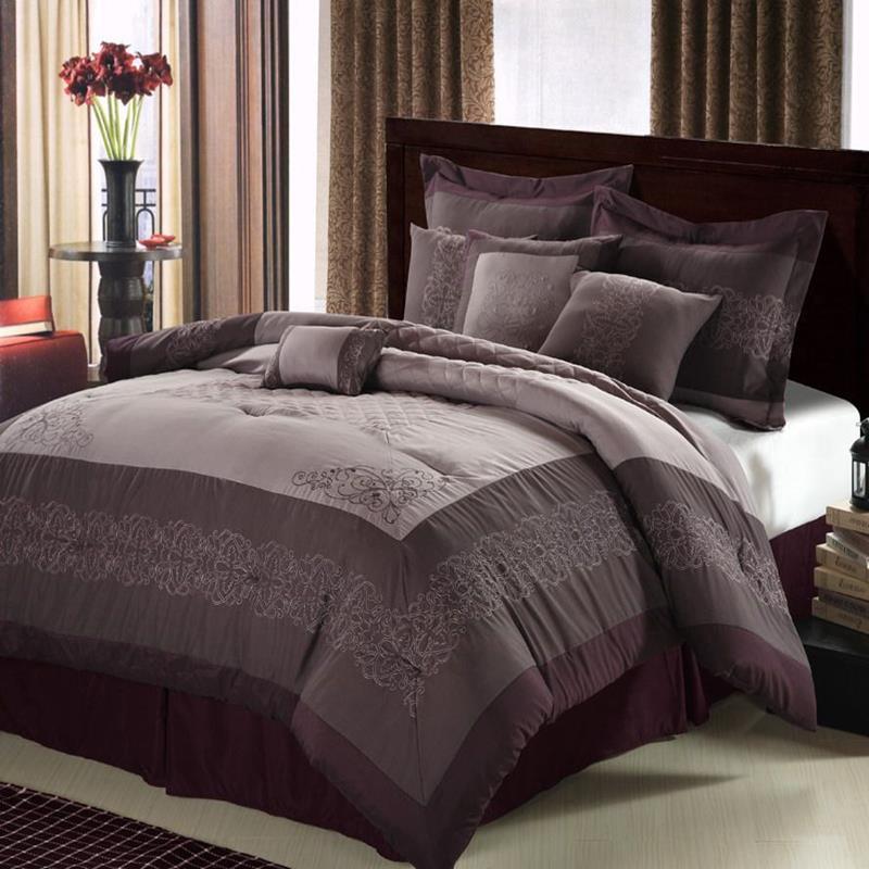 Florence Plum Lavender Amp Silver 8 Piece Queen Comforter