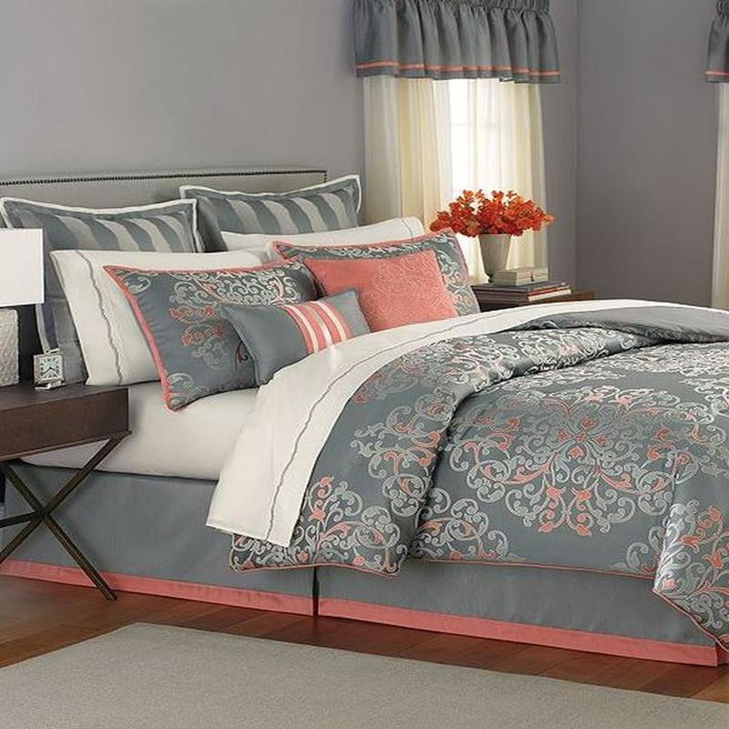 martha stewart grand damask queen 24 piece comforter bed in a bag set ebay. Black Bedroom Furniture Sets. Home Design Ideas