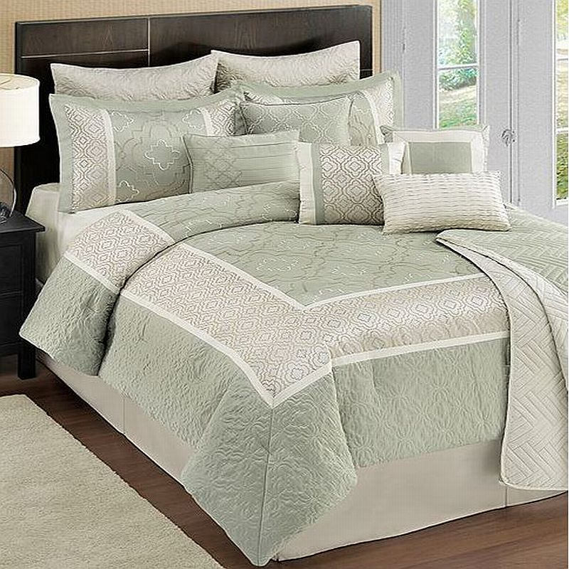 sunham home kody 11 piece queen comforter bed in a bag set sage ebay. Black Bedroom Furniture Sets. Home Design Ideas