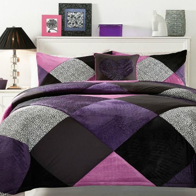 ... Leopard Diamond 4 Piece Full/Queen Comforter Set Purple/Black NEW