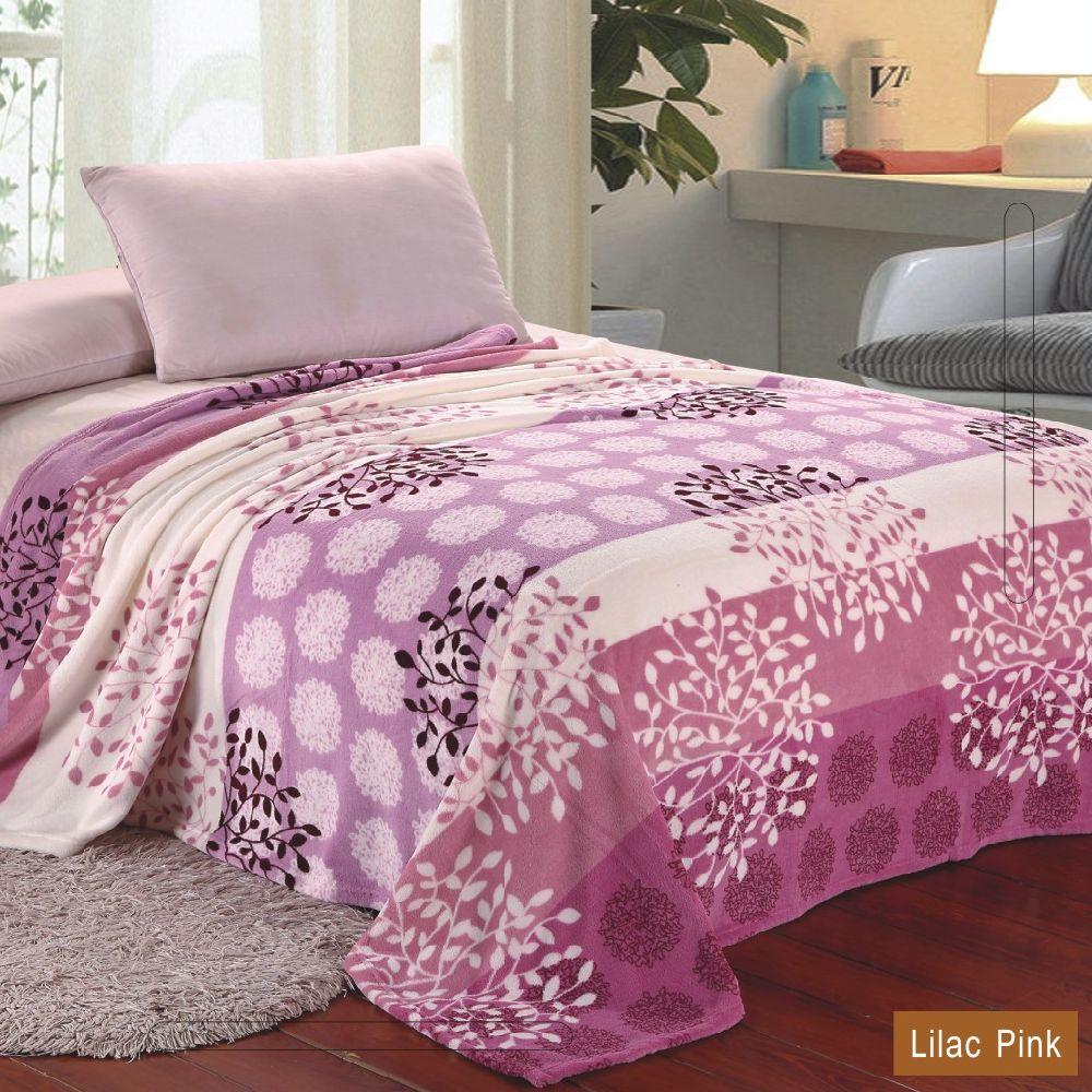 PLAZATEX MicroPlush Printed Blanket Lilac Pink