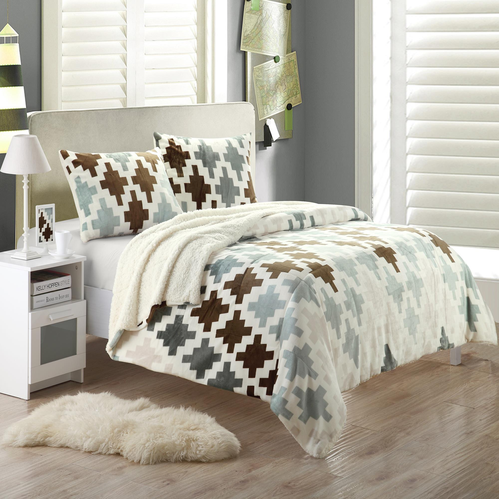 Chic Home Mia Plush Microsuede Printed Sherpa Lined Beige 7 Piece Embroidery Blanket In A Bag Set at Sears.com