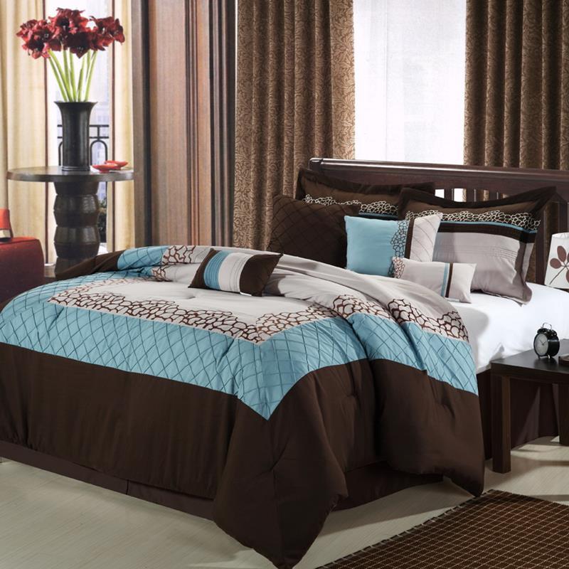mustang brown blue beige 8 piece queen comforter bed in a bag set new ebay. Black Bedroom Furniture Sets. Home Design Ideas
