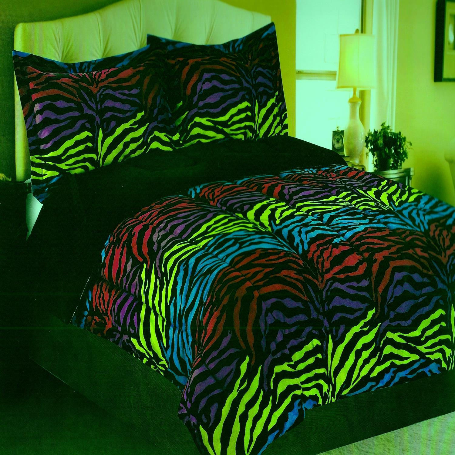 Neon zebra micro mink purple black green pink twin - Green and purple comforter ...