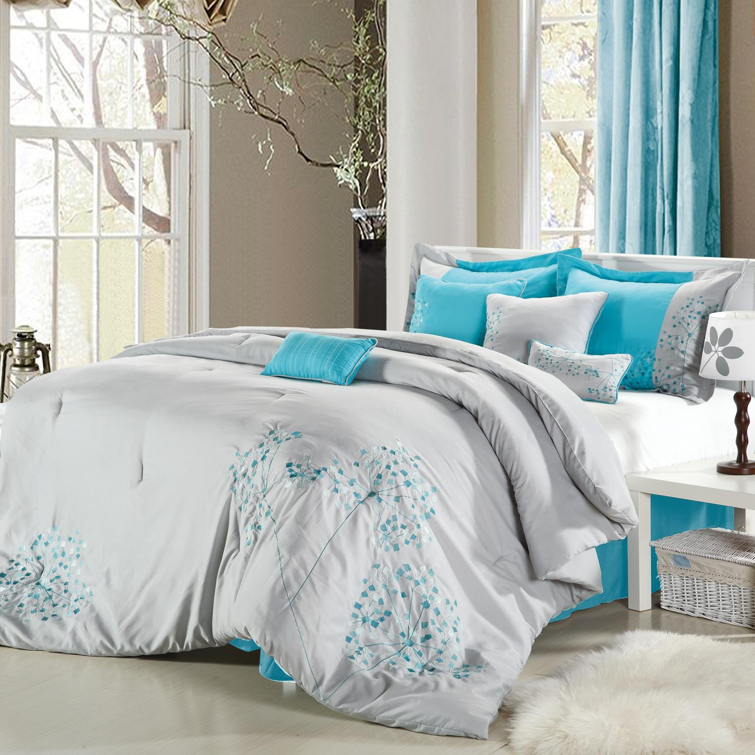 Bedroom Blue Grey Raised Bedroom Bed Plans Small Bedroom Black And White Art On Bedroom Wall: Pink Floral Gray, Turquoise & Silver 8 Piece King