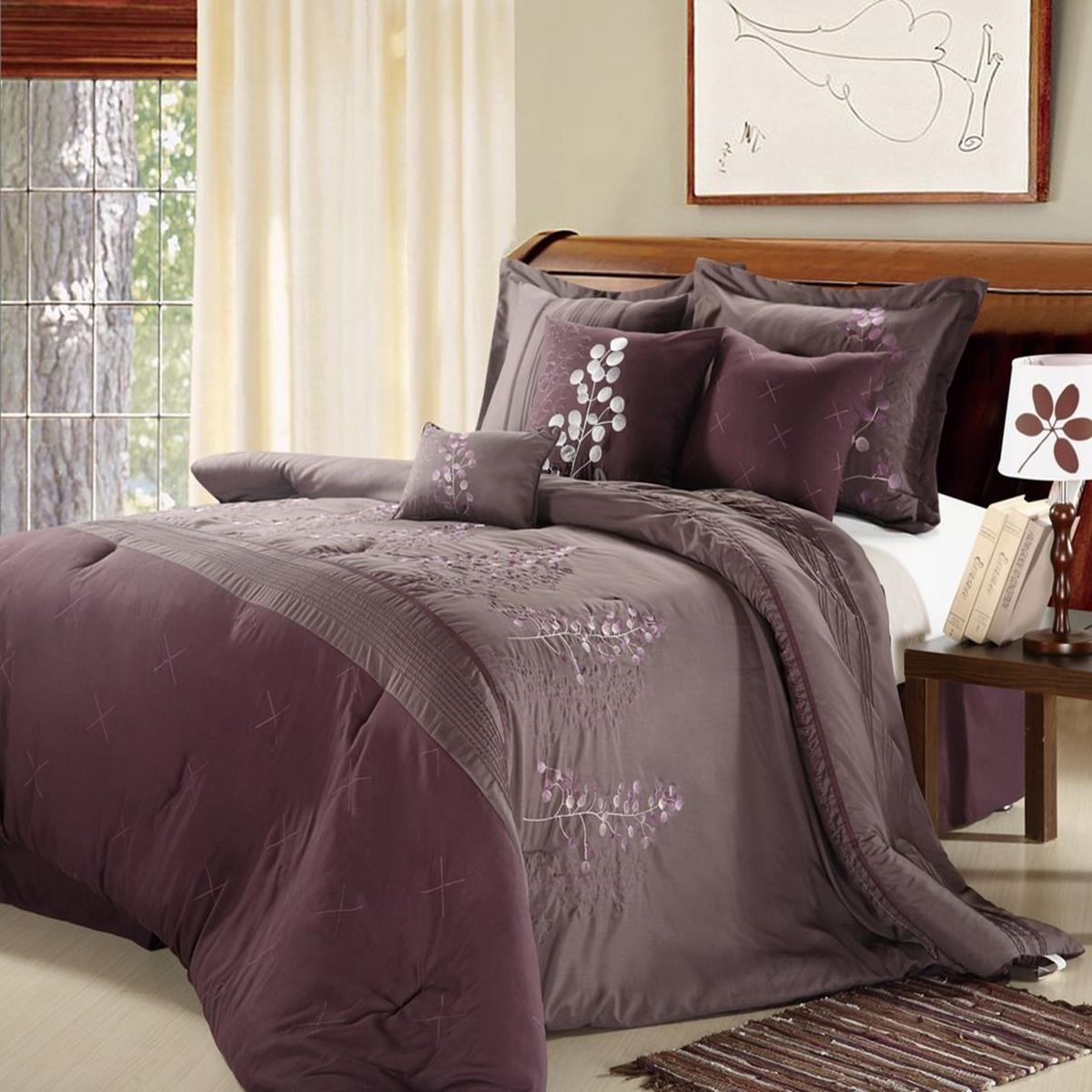 Poppy Flower Plum Amp Purple 8 Piece Queen Comforter Bed In