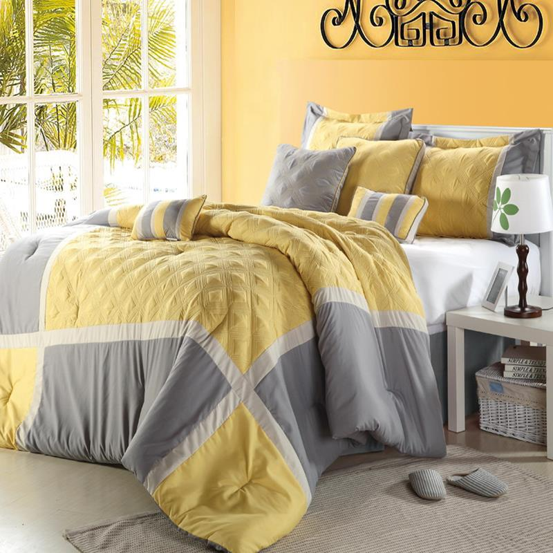 Poppy flower plum purple 8 piece queen comforter bed in a bag set new ebay - Gray and yellow bedding sets ...
