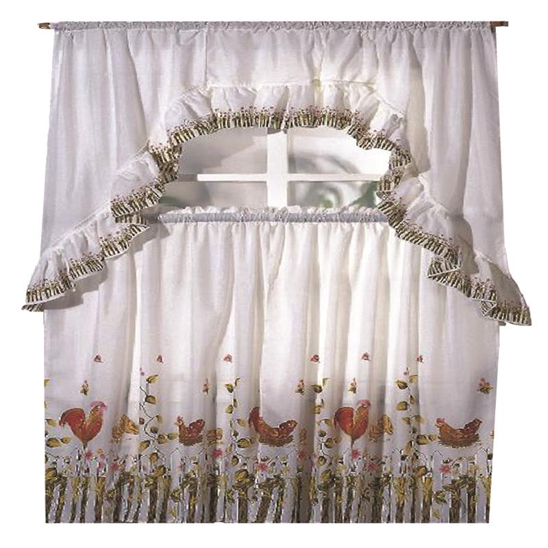 Details about Rooster Printed Kitchen Curtain Swag Set