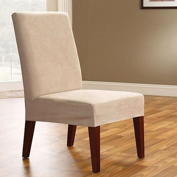 sure fit soft suede taupe dining room chair slip cover new ebay covers
