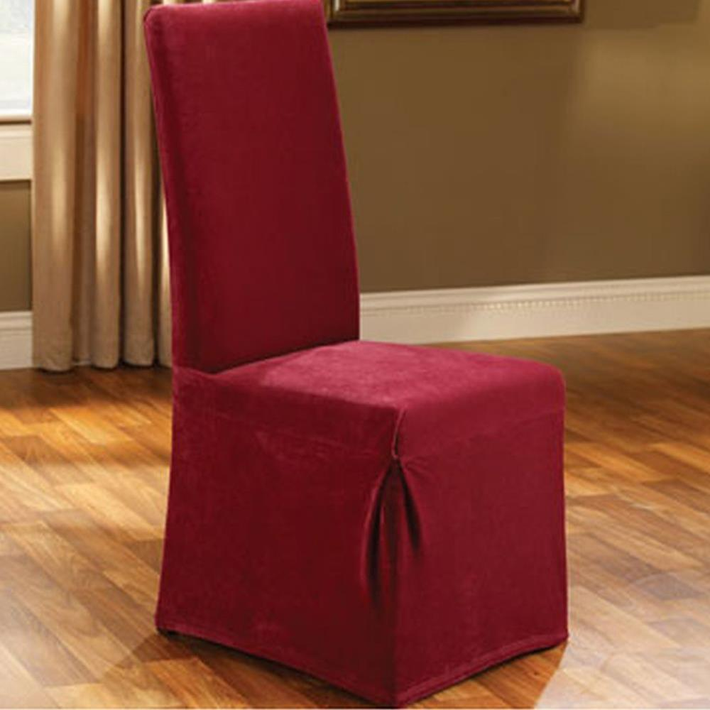sure fit stretch pique garnet deep red long dining room