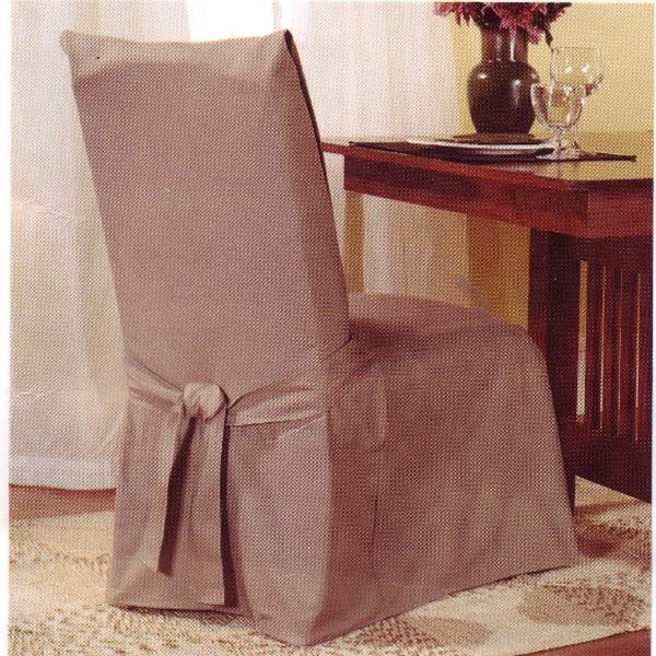 sure fit dining room chair cover cotton duck linen brown new ebay