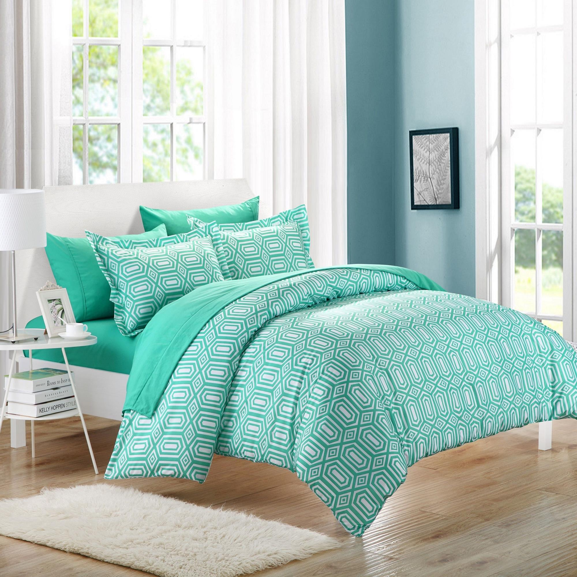 Chic Home Tina Turquoise 7 Piece Embroidery Duvet Cover Bed In A Bag Set