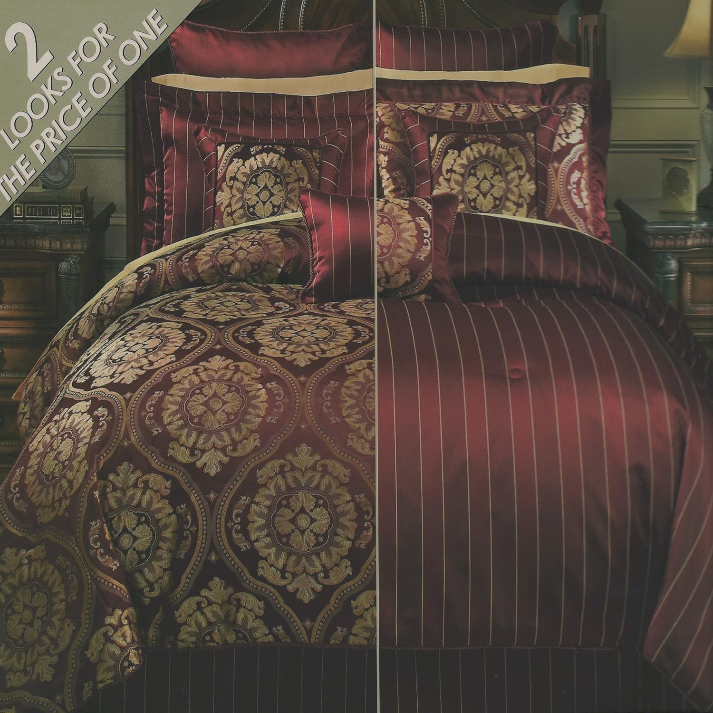 Anacapri Reversible Burgundy Gold King 11 Piece Comforter