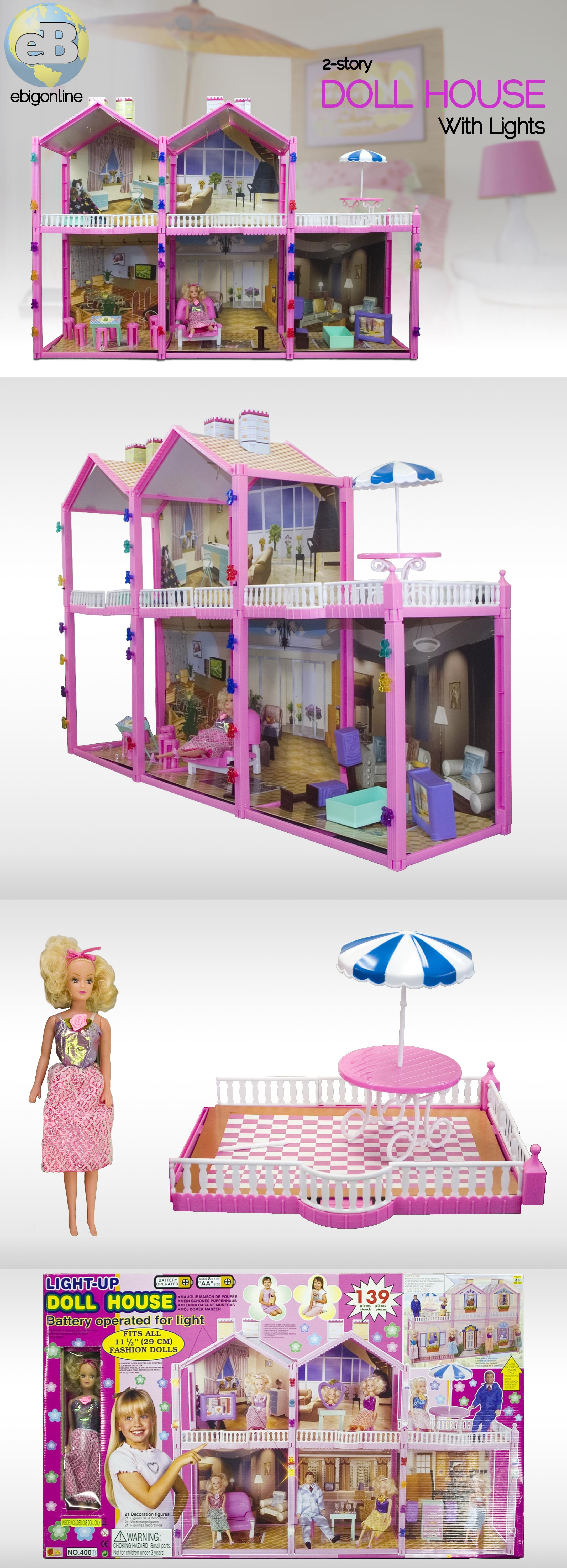 ~HUGE~ 139PC DOLL HOUSE SET 2 STORY 6 ROOMS FITS BARBIE