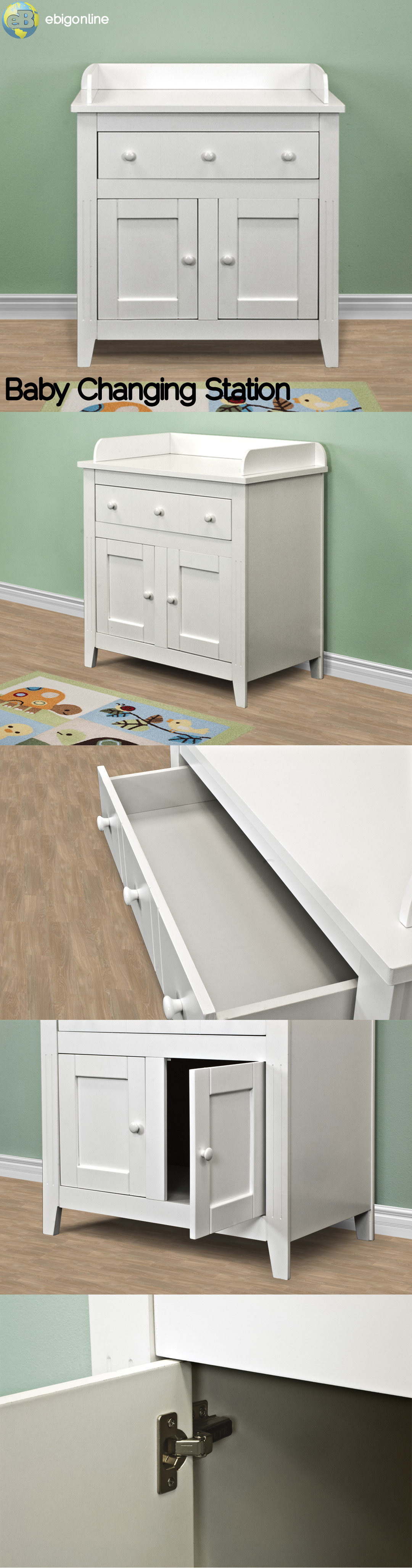NEW SOLID WOOD WHITE BABY CHANGING TABLE DELUXE UNIT