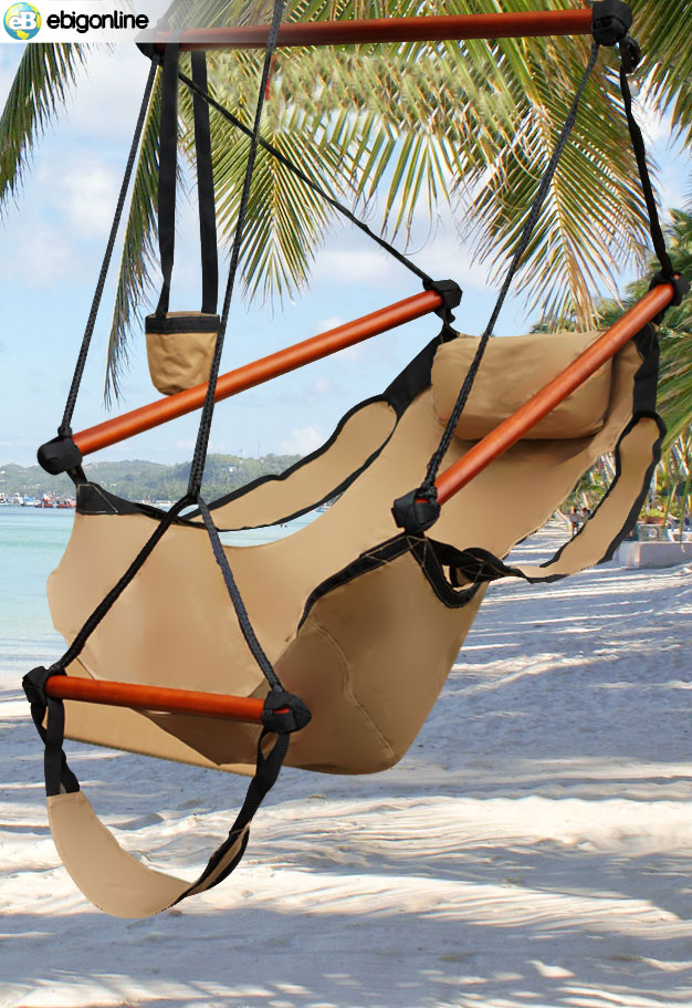 DELUXE HANGING AIR SKY SWING HAMMOCK CHAIR OUTDOOR TAN