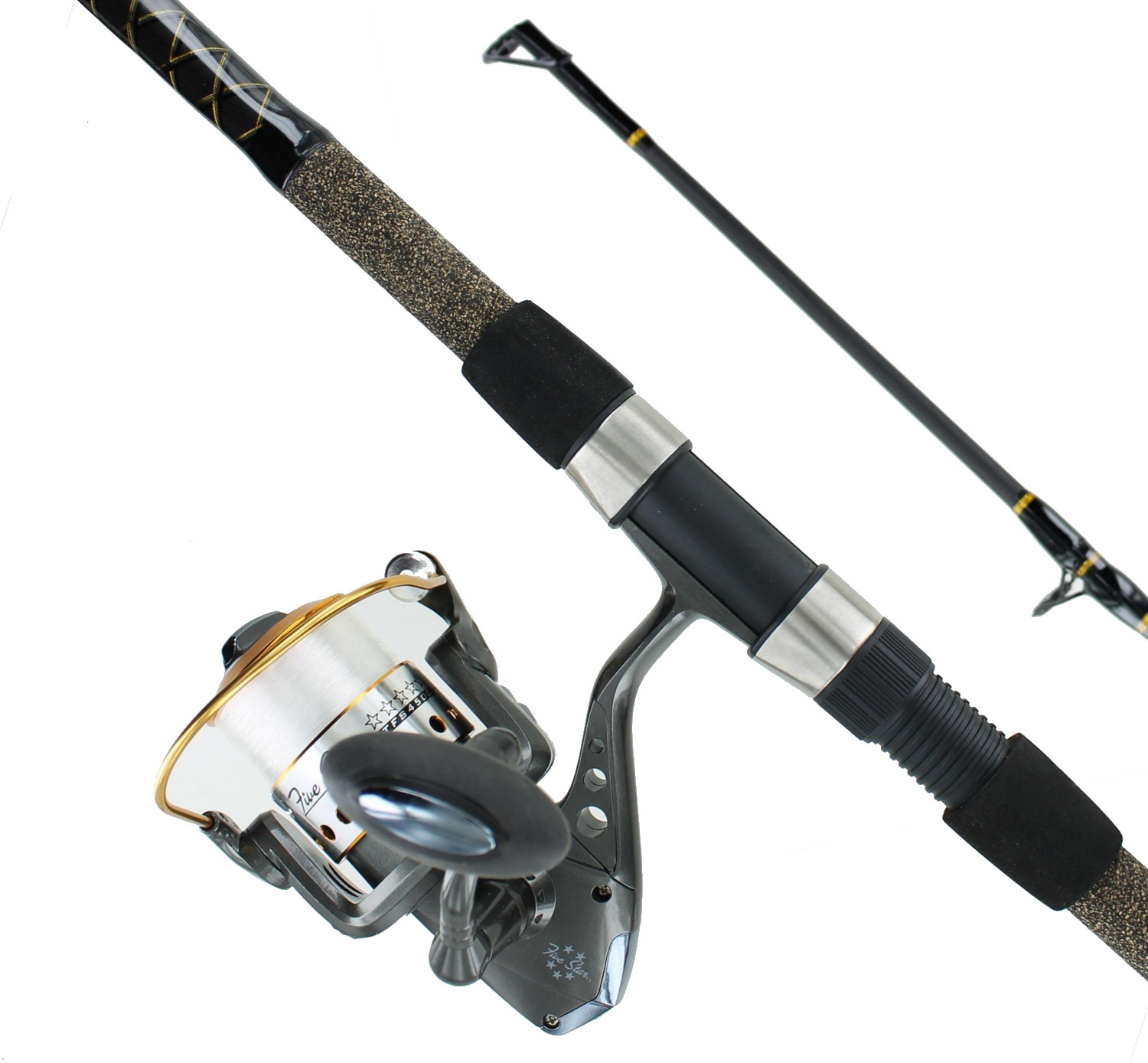 Tsunami five star 9 39 mh 2 pc surf spin rod reel combo ebay for Surf fishing rods and reel combos