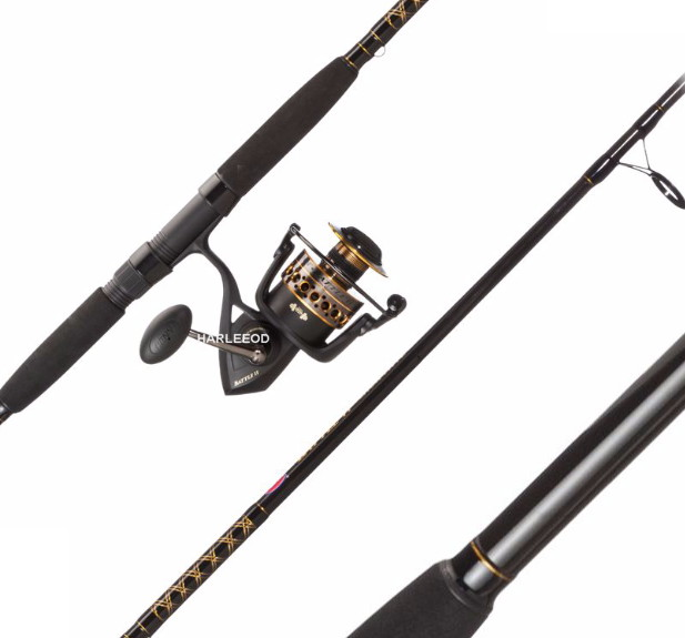 Penn battle 6000ii 9 39 2 pc surf rod and reel spinning for Surf fishing rods and reel combos