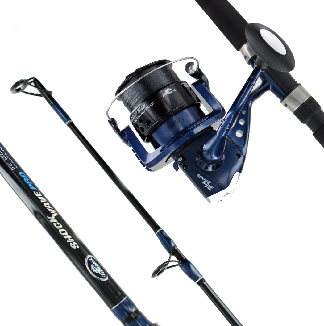 Tsunami 9 39 2 pc shock wave precision pro surf combo 250 yd for Surf fishing rod and reel