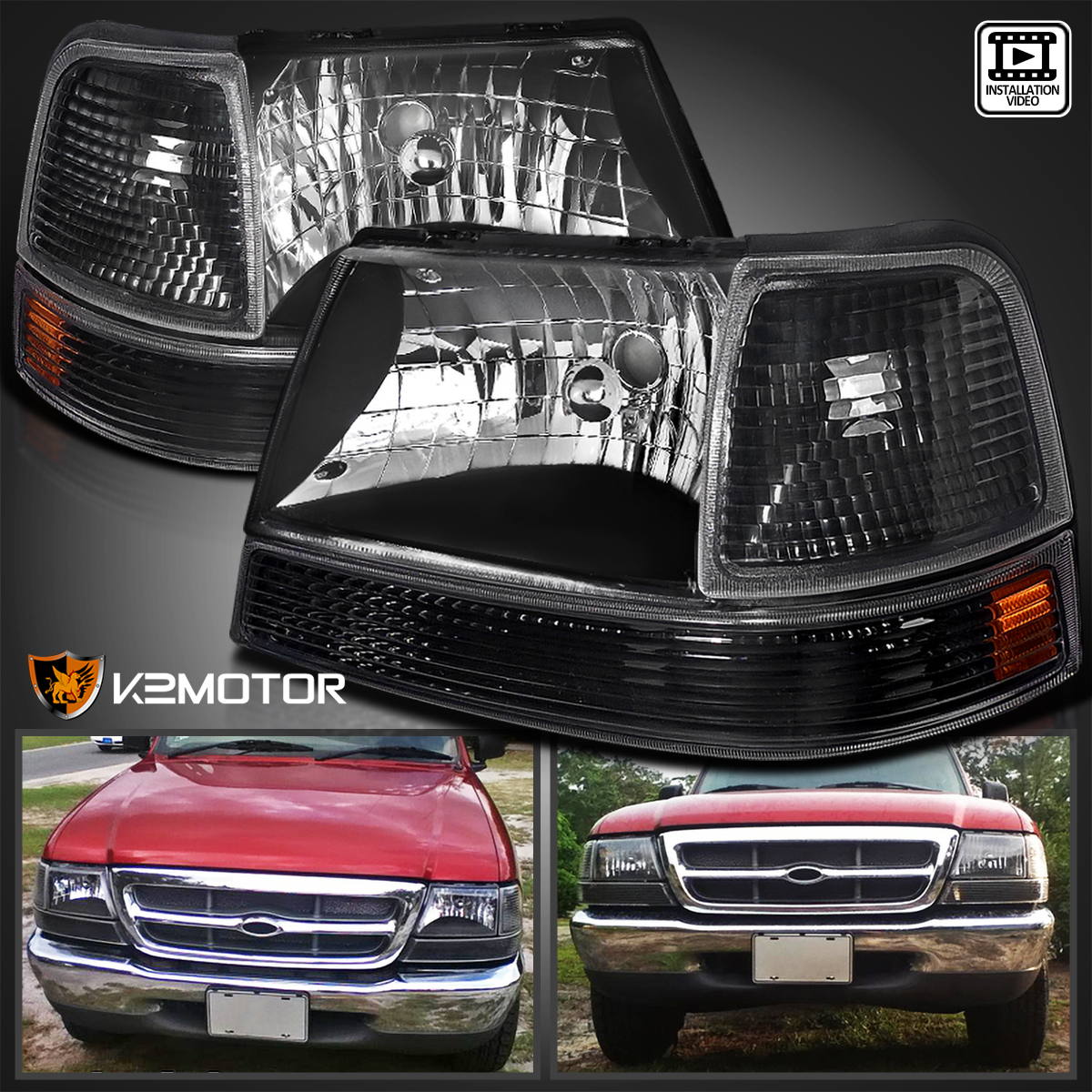 98 Ford Ranger Headlamp : Ford ranger black crystal headlights clear parking