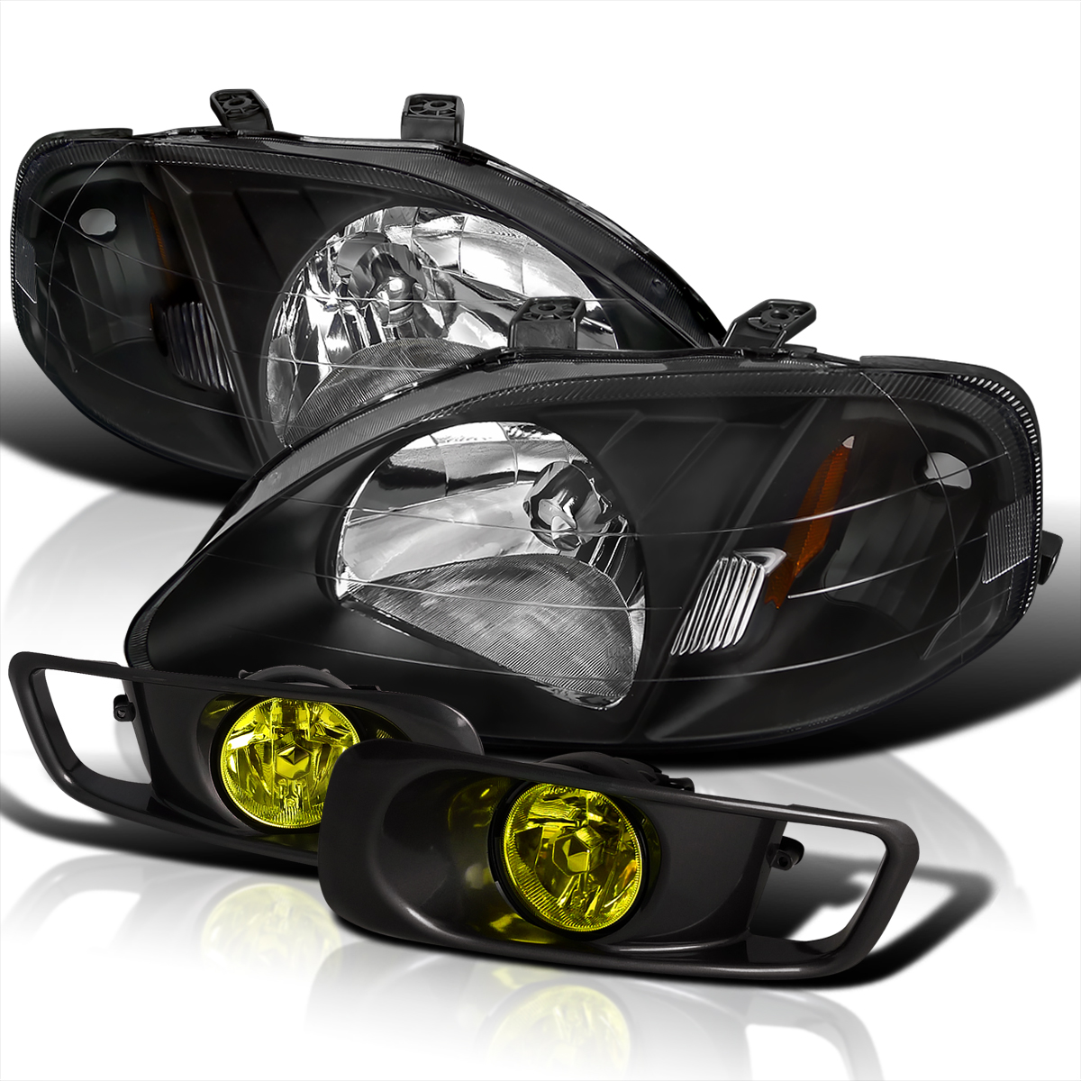 For 1999 2000 Honda Civic 2 3 4dr Headlight W Fog Lamp