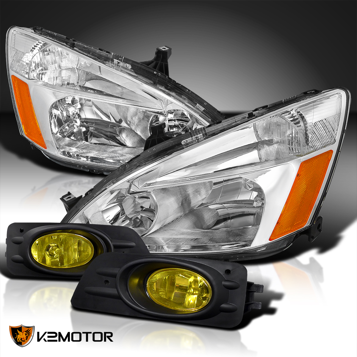 For 06 07 Accord 4dr Sedan Crystal Chrome Head Lights