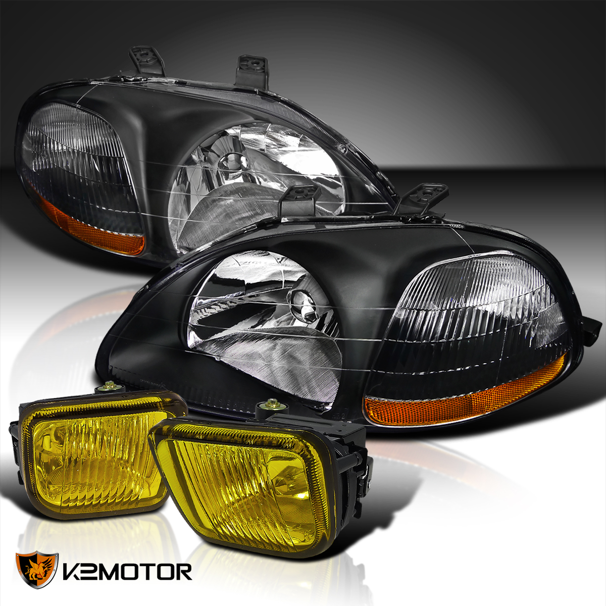Fit 96 98 Honda Civic Jdm Crystal Black Headlights Yellow