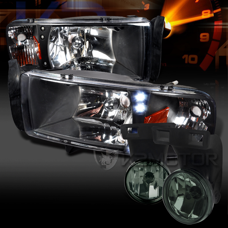 Dodge 94 01 Ram Black Led Drl Headlights Smoke Driving Fog