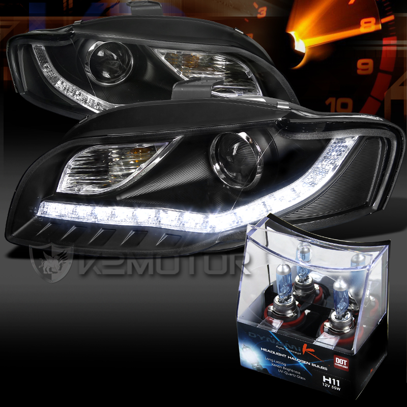 For 06 08 Audi A4 Black R8 Led Drl Projector Headlights