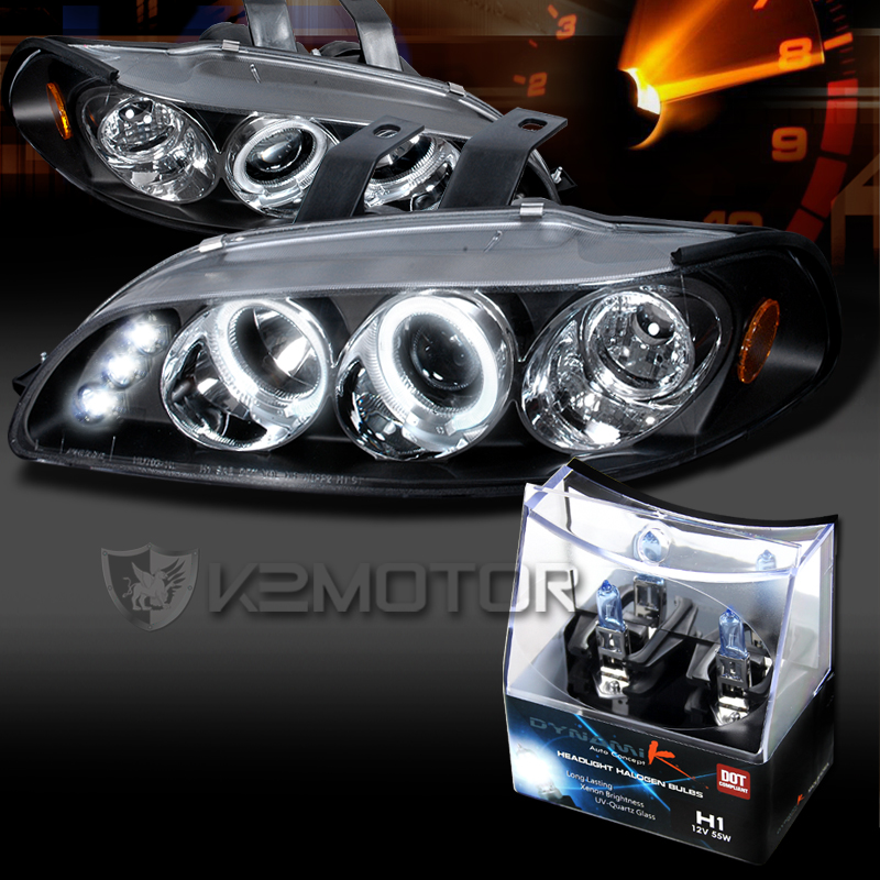For 92 95 Honda Civic Black Led Halo Projector Headlights