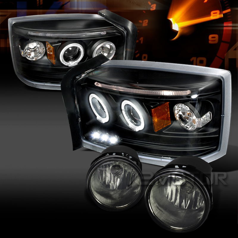 05 07 Dakota Black Halo Led Projector Headlights Smoke Fog