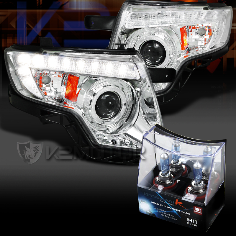 07 10 Ford Edge Chrome Halo Led Drl Projector Headlights