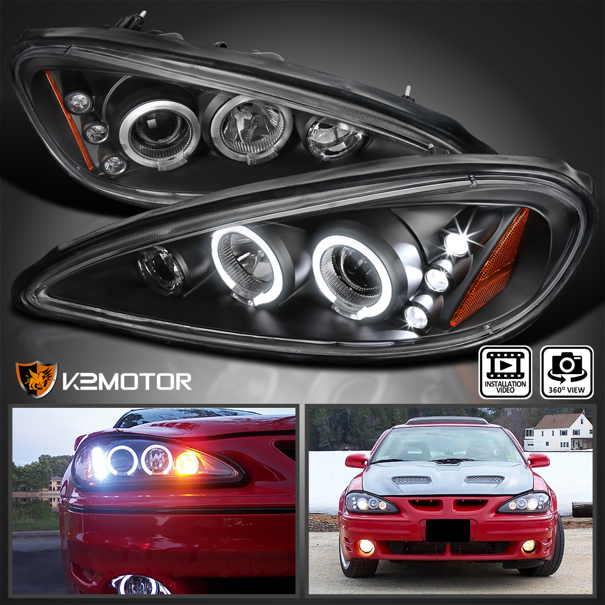 1999 2005 pontiac grand am led halo projector headlights. Black Bedroom Furniture Sets. Home Design Ideas