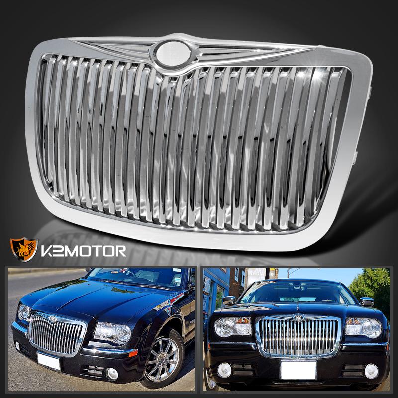 2005 2010 Chrysler 300 300c Shinny Black Vertical Front: 05-10 Chrysler 300 300C Chrome Front Vertical Hood Grill