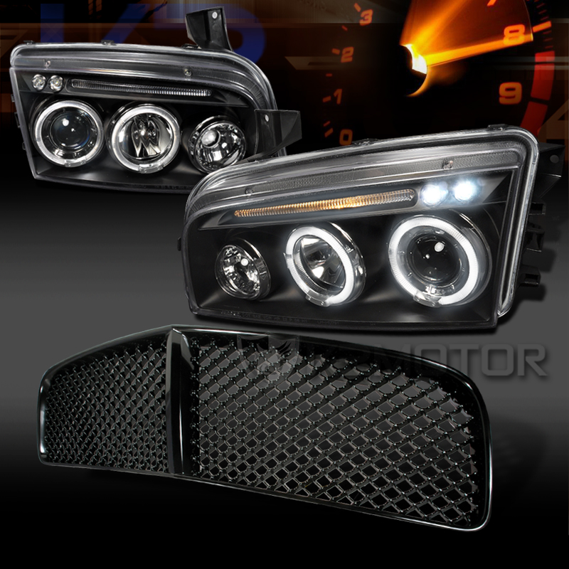 2006 2010 Dodge Charger Halo Led Black Projector