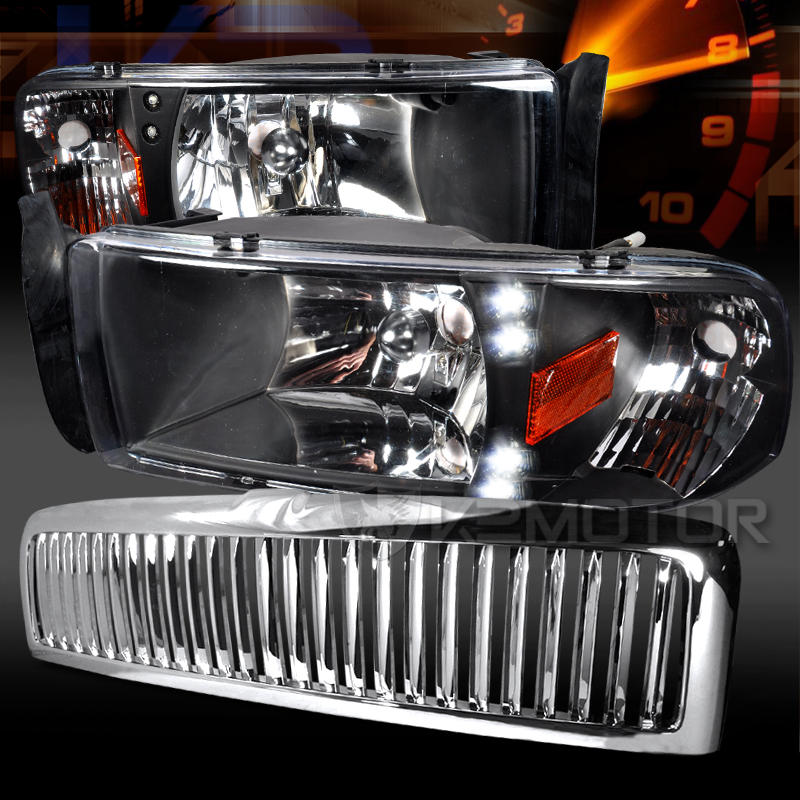 Dodge 94 01 Ram 1500 Black Led Drl Headlights Chrome