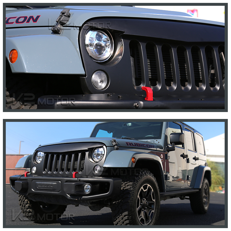 2007-2016 Jeep Wrangler 1PC Front Bumper Hood Grille Angry