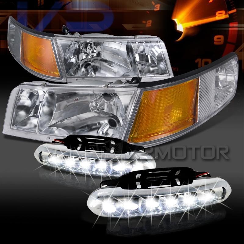 98 02 Mercury Grand Marquis Chrome Headlights Corner Lamps