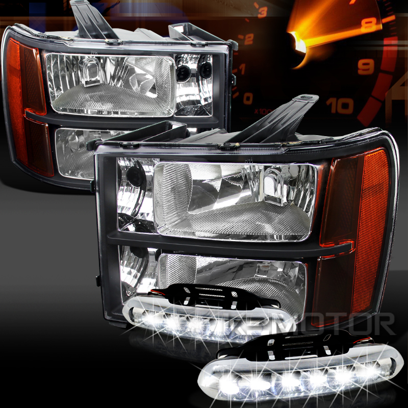 07 13 Gmc Sierra 1500 2500 3500hd Black Amber Headlights