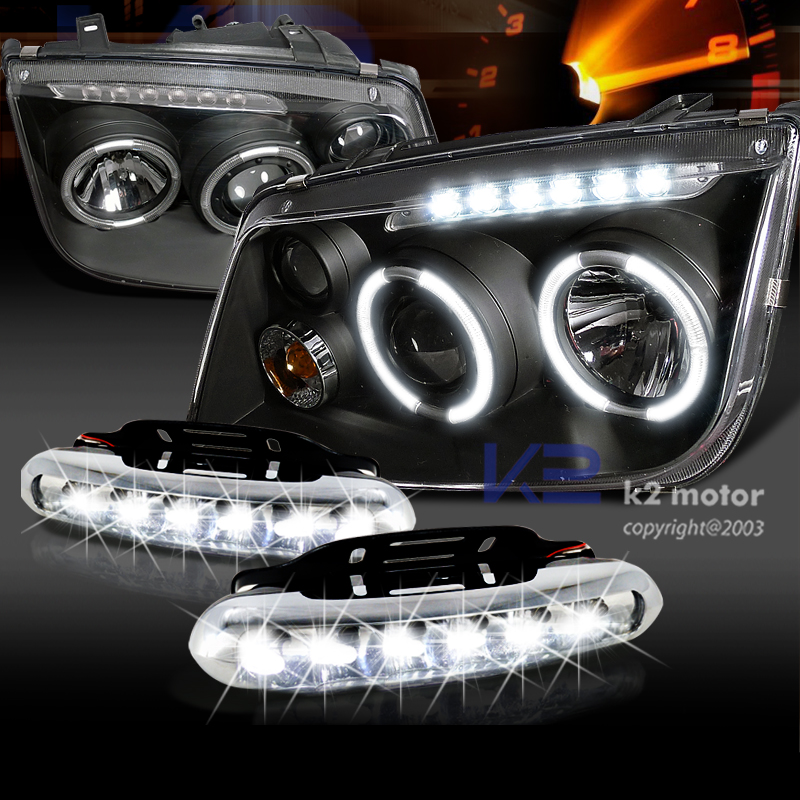 For 99 04 Vw Jetta Bora Black Halo Projector Headlights W