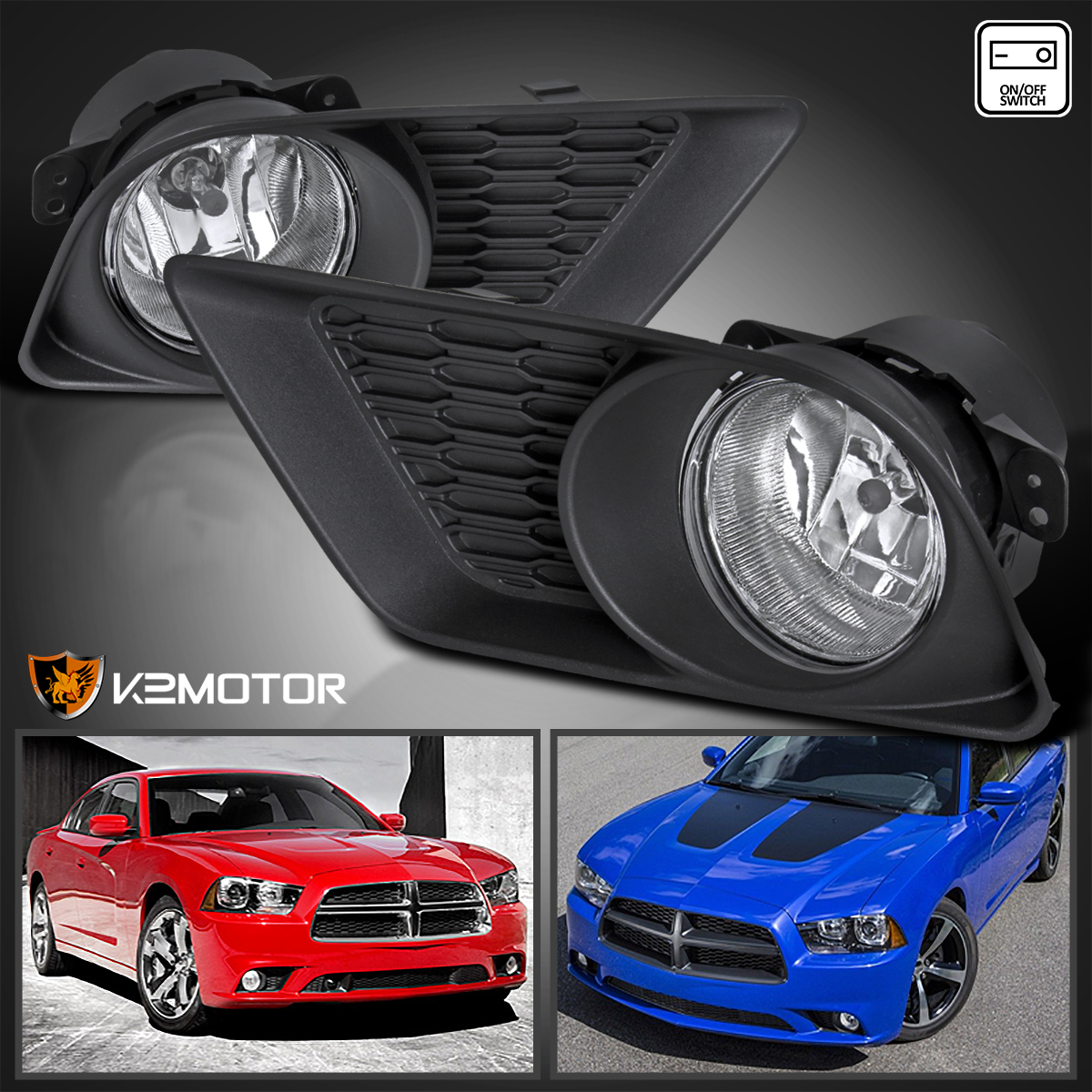 2011 2014 dodge charger clear bumper fog lights bulbs. Black Bedroom Furniture Sets. Home Design Ideas