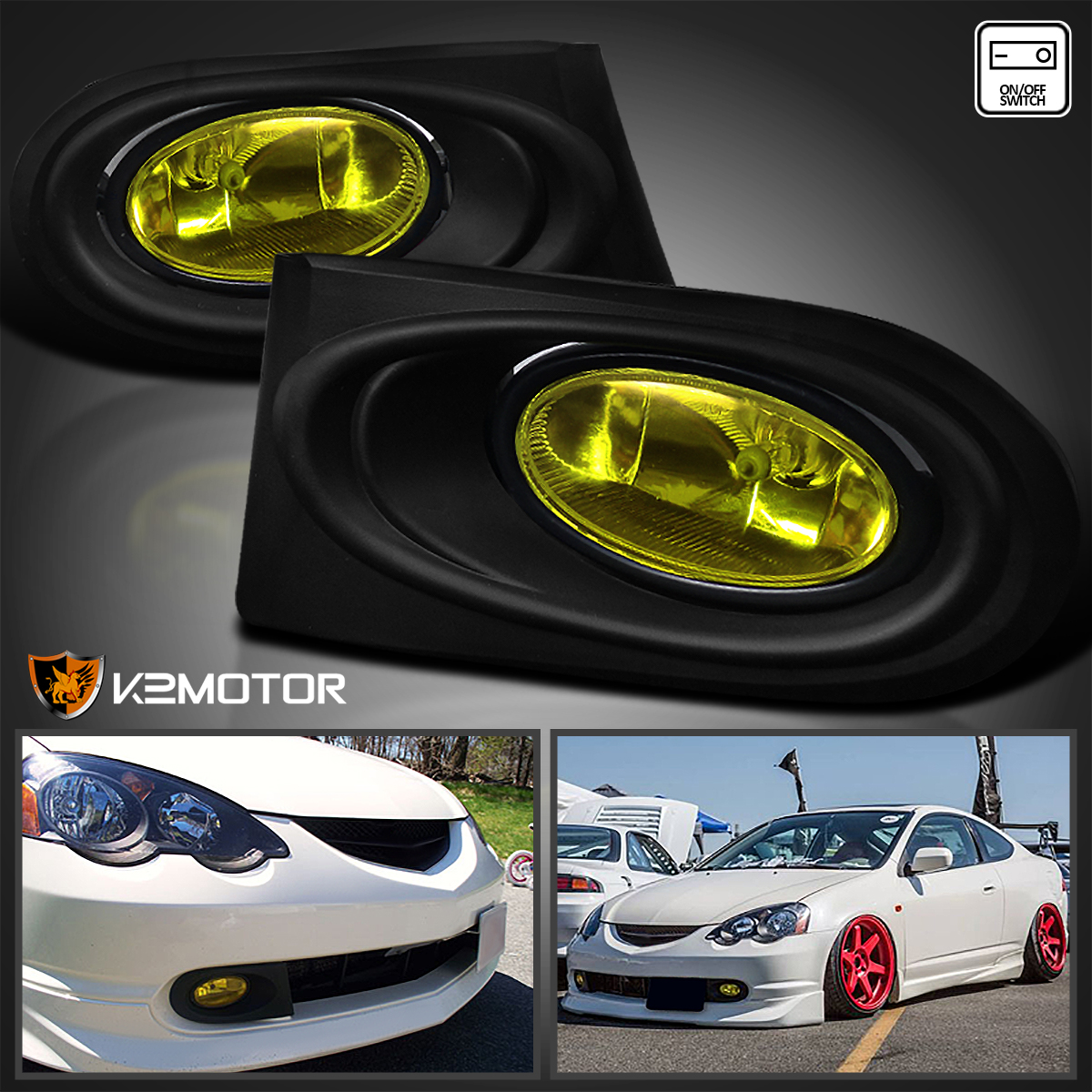 02 04 Acura Rsx Black Led Halo Projector Headlights Yellow