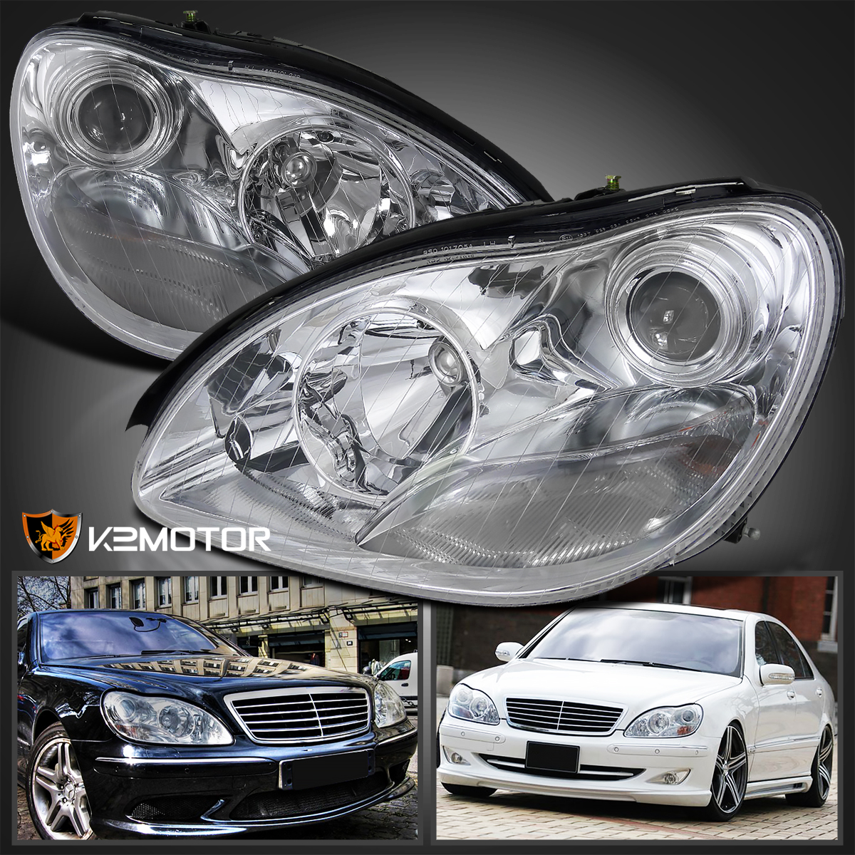 2000 2005 mercedes benz w220 s class projector headlights for Mercedes benz projector lights