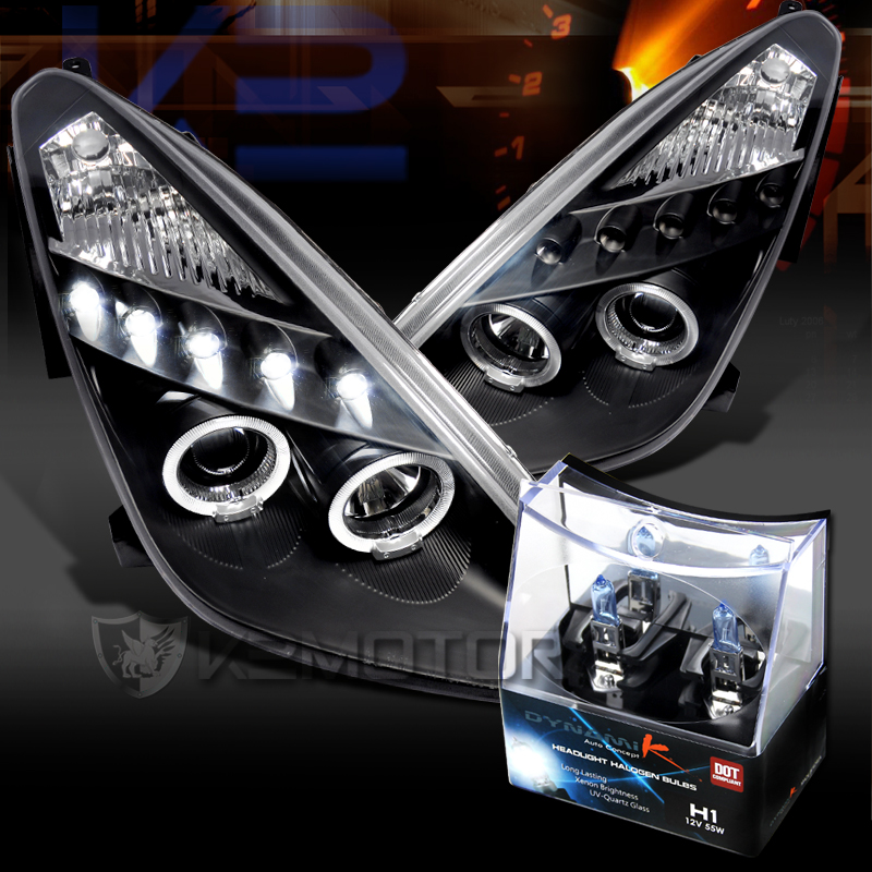 00 05 Toyota Celica Black Led Halo Projector Headlights H1